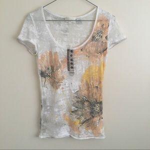 Miss Me Bling Sunflower Burnout Sheer T-shirt